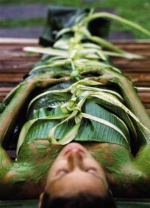 Woman Receiving Banana Leaf Wrap Treatment